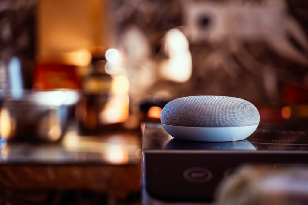 Voice today. Smart ai speaker. Smart home concept